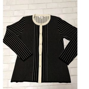 Exclusively Misook Ivory and Black Striped Sweater
